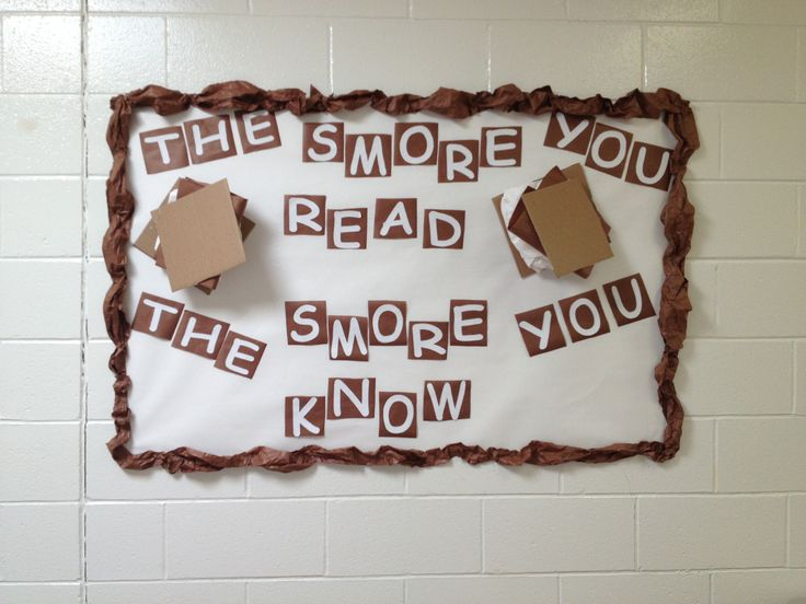 "Library bulletin board ""the s'more you read, the s'more you know""  Cause my poor turkey never got any feathers or even the ""It's all good"" from the October Pete board taken down. And no one wrote any favorite titles on the leaves on the ""Fall into Reading"" board. EEK!"