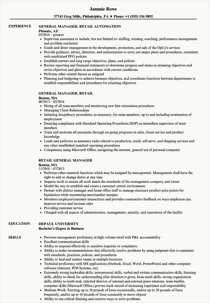 47 Free Resume for Retail Stores Gallery in 2020 Resume