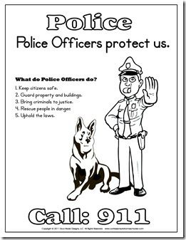 """A really great package of free Police printable pages.  A fun book to read along with this would be the Caldecott Medal winning """"Officer Buckle and Gloria"""" by Peggy Rathmann (http://www.amazon.com/gp/product/0399226168/ref=as_li_ss_tl?ie=UTF8=alithoujou-20=as2=1789=390957=0399226168)"""