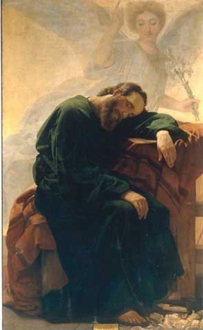 The angel speaking to Saint Joseph in a dream. Saint Joseph has no recorded words in Scripture, but he was  a man of action; as soon as God told him what to do, he got up instantly and did it.