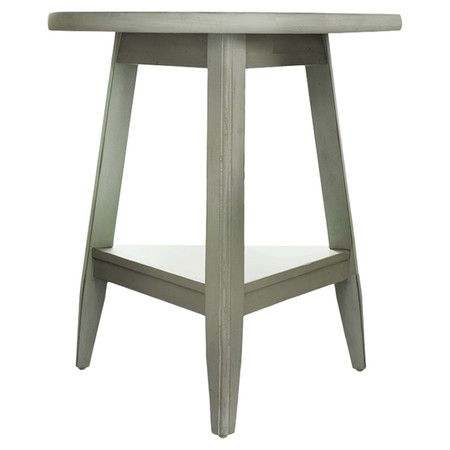 a perfect addition to your living room or den this countrychic wood end table showcases a triangle silhouette and bottom display shelf for added storage