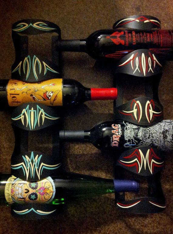 Kustom Pin Striped Wine Bottle Holder on Etsy, $30.00
