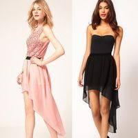 2016 New Women Chiffon Pleated Retro Asymmetrical Swallow Tail Short Elastic Waist Skirts wholesale