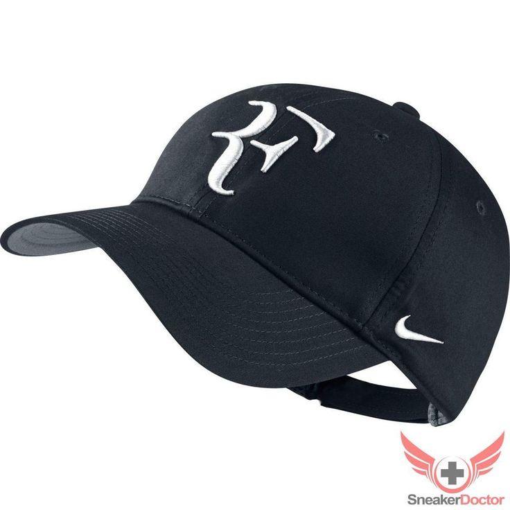 Mens Nike Roger Federer RF Hybrid Hat Tennis Black/Flint Grey/White Adjustable #Nike #BaseballCap