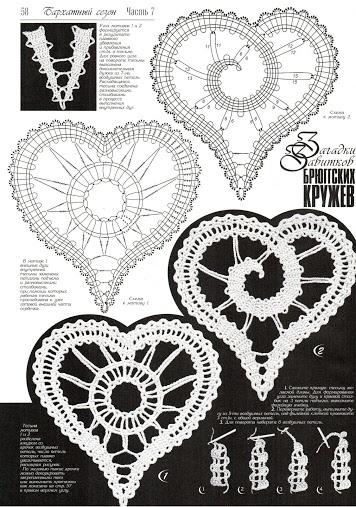 Crochet Russian bobbin lace-like heart patterns.