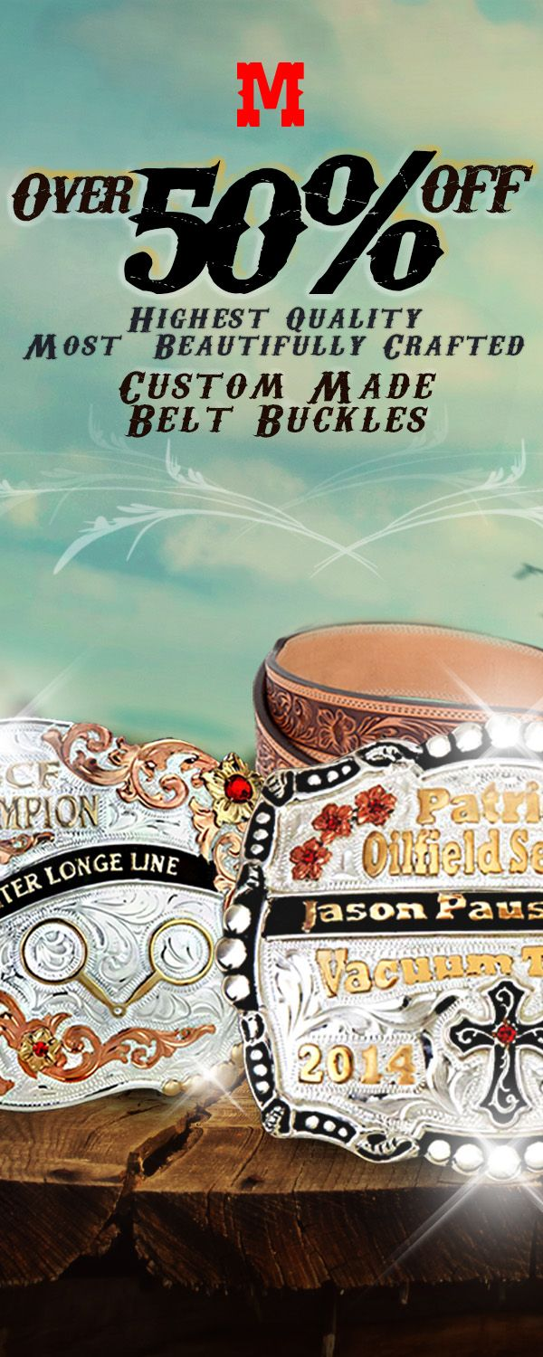 Choose from a beautiful variety of custom made belt buckles for any occasion.