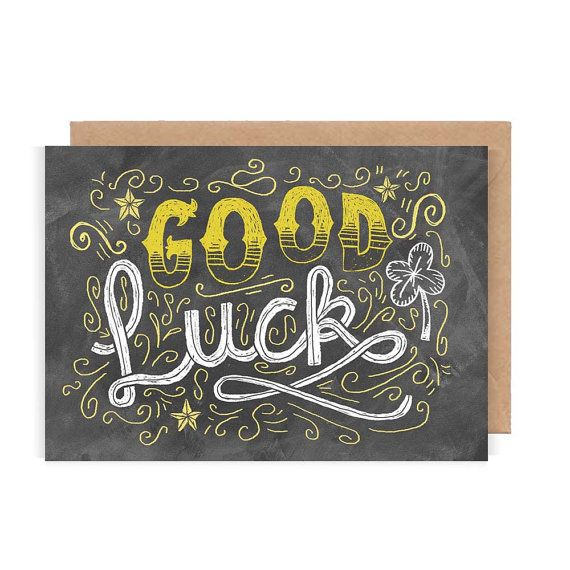 Good Luck Card - Chalkboard / Hand Lettering / Typography / Good Luck / Illustration