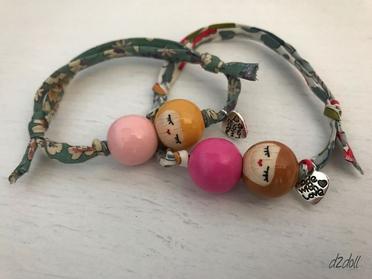 Handpainted wooden bead doll ~ Liberty London and Lecien bracelets