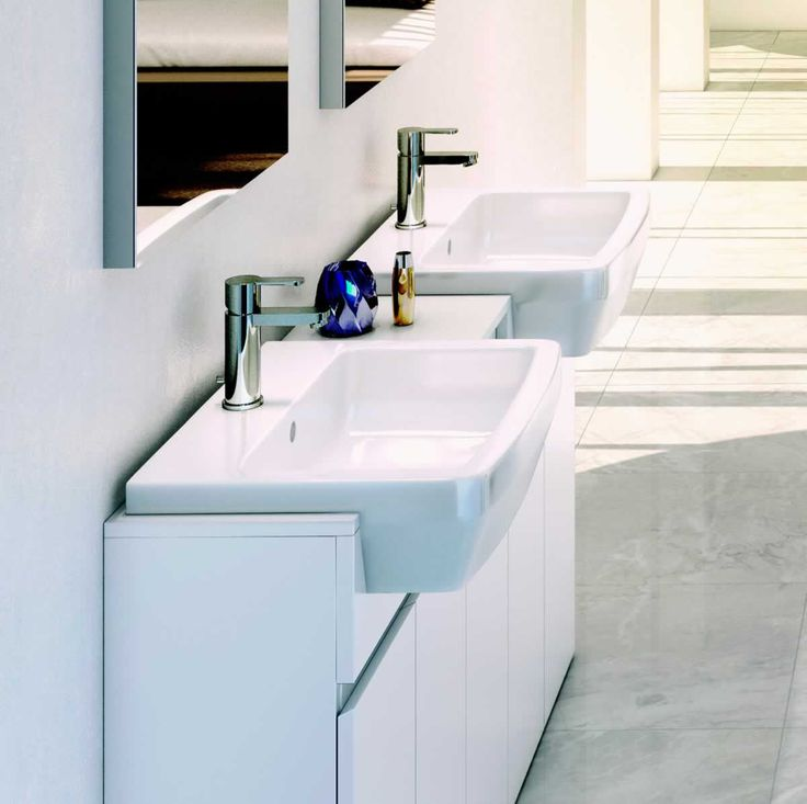 Britton Bathrooms Cube S20 Semi-recessed Basin 55cm : UK Bathrooms