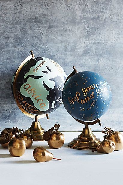 Hand painted Wanderlust Globe.   This is the kind of style I wanted to paint a globe like but with more detail.