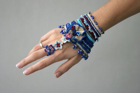 Gipsy crochet bracelet with ring connection by ellisaveta on Etsy