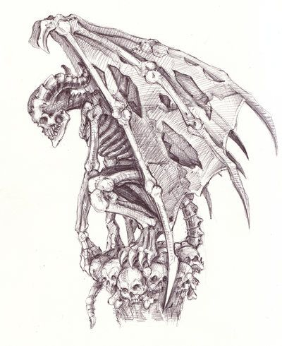 Gargoyle Drawings | Bone gargoyle by ~BorisEdikhanov on deviantART
