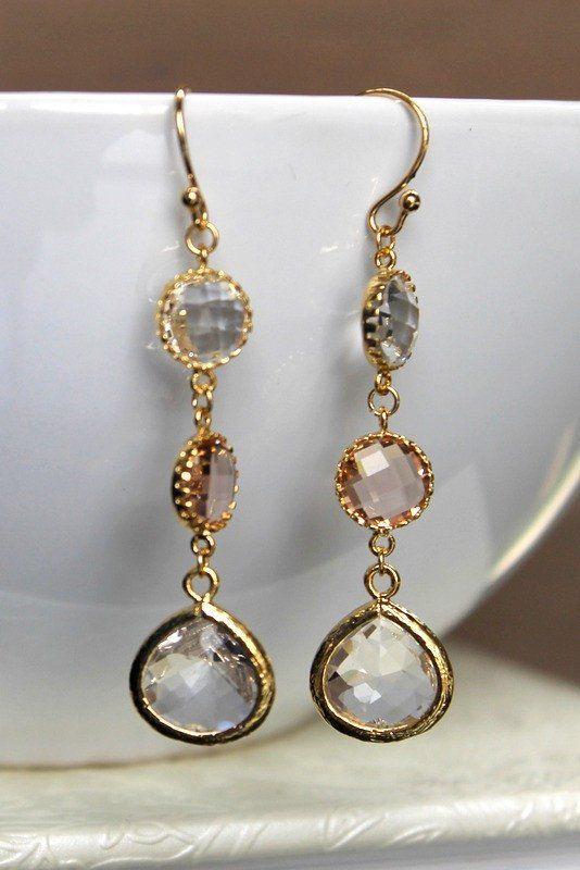 JULIE EARRINGS, gold earrings, crystal earrings, bridal jewelry, bridal earrings, wedding jewelry, wedding earrings from batelboutique.com