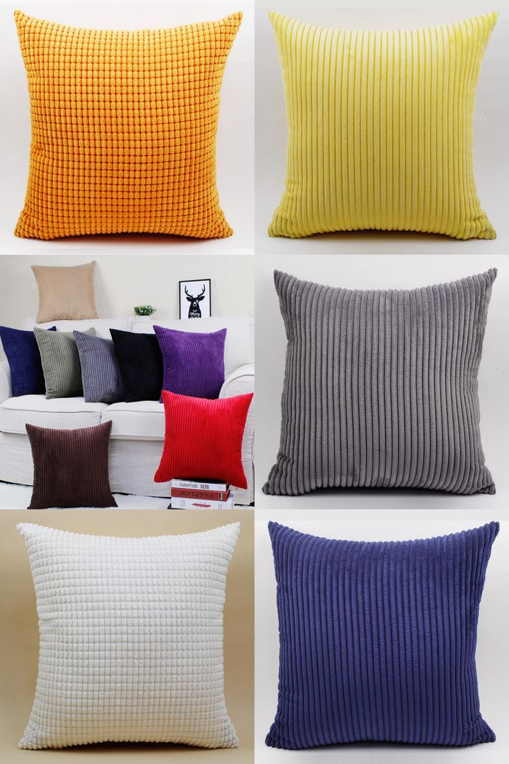 [Visit to Buy] Good quality soft Chenille big cushion pillow for sofa (not including filling)colorful cushion Red/Green/white/brown/gray/orange #Advertisement