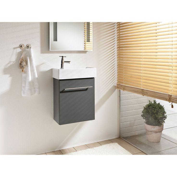 Vysokokvalitné čelá zMDF dosiek • Vrát. keramického umývadla ✓ OBI Skrinka sumývadlom Resia sivá 2-dielna ➜ Kúpeľňový nábytok - súpravy kúpiť