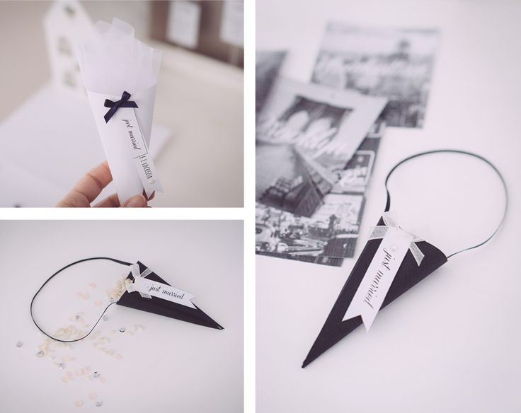 AnDphotography - handmade wedding decorations: confetti cones ideas! We love black and white weddings! <3