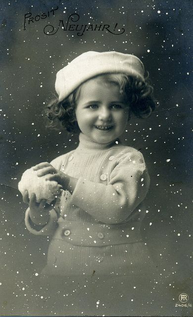 Vintage postcard ~ little girl with snowball, snow effect. So cute!:
