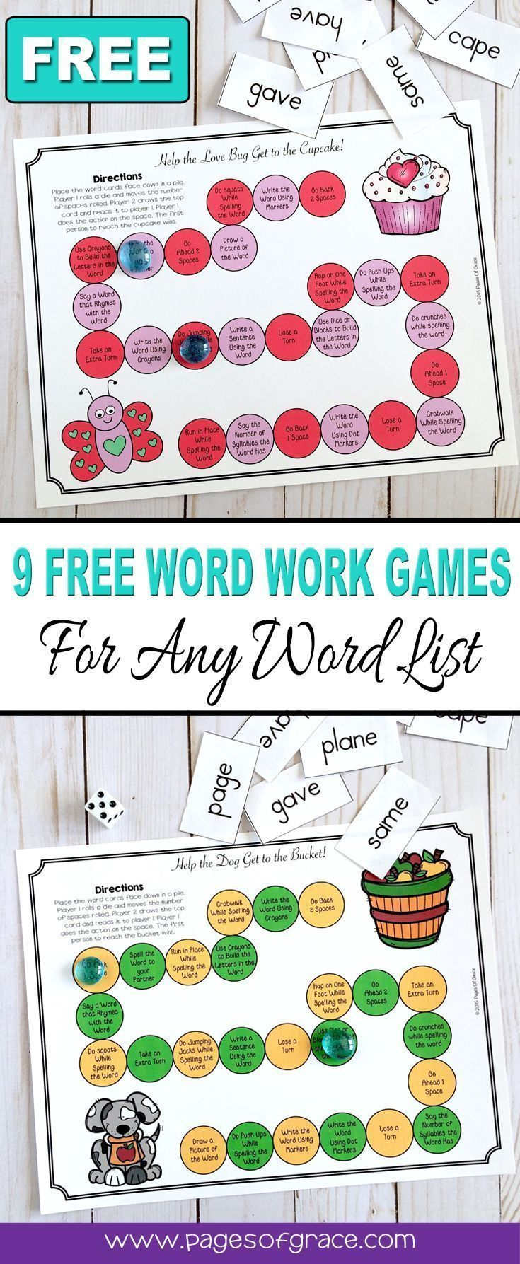 Help your students master any word list and have some holiday and seasonal fun with this set of 9 FREE word work board games! There a 9 games board, themed for each month of the school year-Back to school, Halloween, Thanksgiving, Christmas, Winter, Valentine's Day, St. Patrick's Day, Easter, Spring, Can be used with any word list-phonics, sight words, spelling words. Great for kindergarten, first grade, second grade, third grade. Fun activity for literacy centers! #mathgamesforsecondgrade