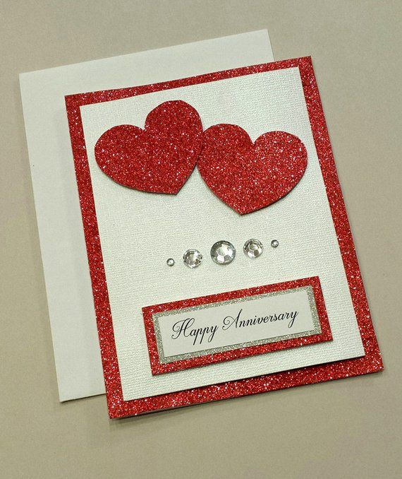 Handmade Anniversary Card Red Hearts Happy Anniversary For Her Blank Card For My Love Hand Crafted Unique Anniversary Gift Anniversary Cards Handmade Anniversary Cards Homemade Anniversary Cards