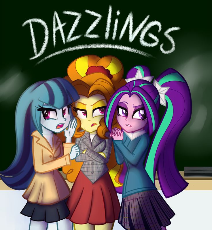 #1331392 - adagio dazzle, aria blaze, artist:wubcakeva, chalkboard, clothes, crossed arms, equestria girls, heathers, parody, pigtails, safe, skirt, sonata dusk, the dazzlings, trio, twintails - Derpibooru - My Little Pony: Friendship is Magic Imageboard