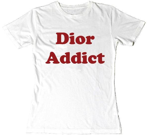 """Dior Addict"" Ladies Fit Printed Slogan Fashion T-Shirt WHITE RED PRINT. Our most popular #slogantee is back now in colour and fitting variations. #slogan #tees #addict #unisex #fun #tee #fashion"
