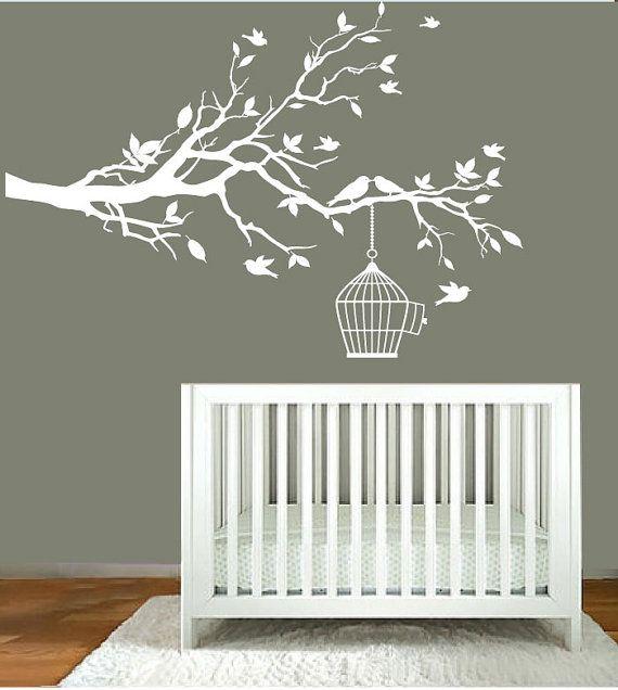 nursery cuteness! vinyl wall decals - nursery white tree branch