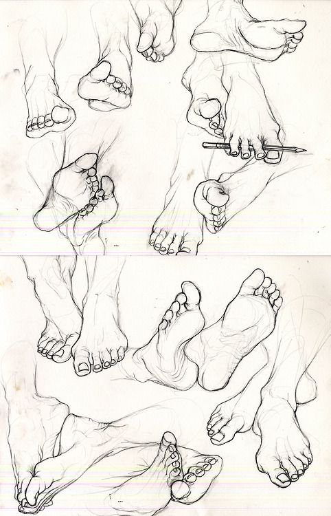 eatsleepdraw:  A study of feet. Special thanks to Kayla Jones for lending hers.
