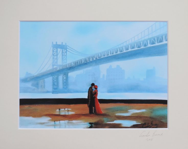 New York kissing couple signed mounted print from original painting Gordon Bruce new art https://www.etsy.com/listing/461573086/new-york-kissing-couple-signed-mounted?utm_campaign=crowdfire&utm_content=crowdfire&utm_medium=social&utm_source=pinterest
