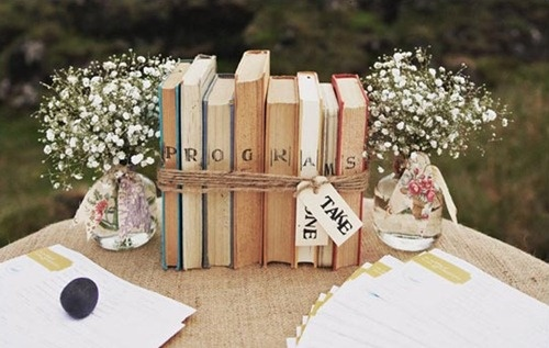 love the books idea #vintage #rustic #wedding
