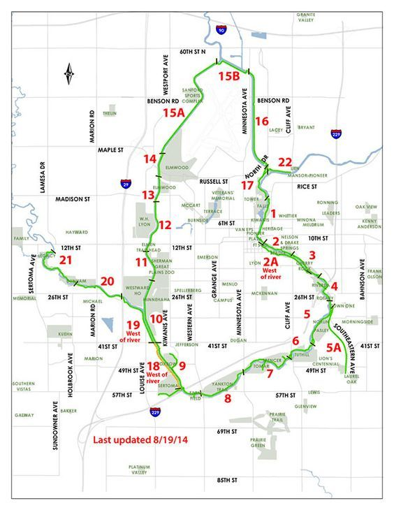 SD: Sioux Falls Bike Trail Map - The 20 mile main loop ... on edmunds county sd map, faulk county sd map, miner county sd map, brandon sd map, nebraska sd map, summerset sd map, mccook lake sd map, ree heights sd map, south dakota map, west river sd map, hecla sd map, bennett county sd map, spencer sd map, volin sd map, rapid city sd map, wessington springs sd map, jamestown sd map, moorhead sd map, desmet sd map, iron mountain sd map,