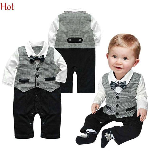 Top Hot roupas de bebê menino infantis de uma peça cavalheiro formais gravata terno partido Romper botões de manga longa Jumpsuite Hot SV011492