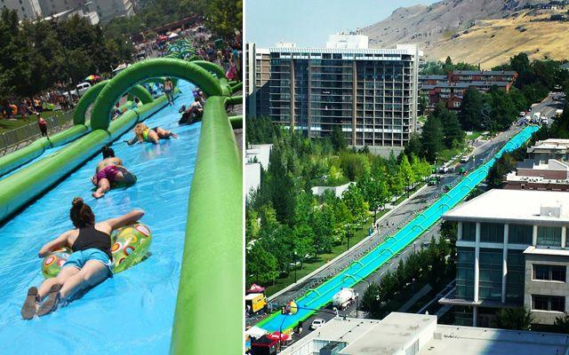 Après le toboggan géant «Slip-N-Slide» dePotrero Hill àSan Francisco, voici un autre slide encore plus long et plus fun installé àSalt Lake City, la capitale l'Utah. Une glissade sur plus de 300 mètres que l'on verrait bien dans nos grandes villes de France.