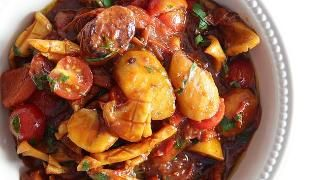 Matt Moran's potato, squid and chorizo stew. Picture: Carly Earl