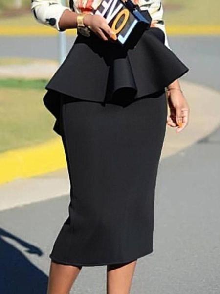 Mid-Calf Bodycon Plain Office Lady Skirt