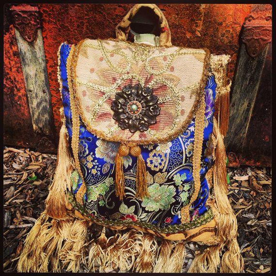 """Boho Gypsy Pandora Sling Purse, Backpack, Handbag, Bohemian Shoulder Bag, Slouch Bag, Tassel Fringe, Gold Trim, Tapestry, 11.5"""" x 14.5"""""""
