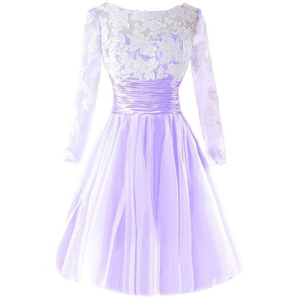 Bess Bridal Women's Lace Tulle Long Sleeves Short Prom Homecoming... ($90) ❤ liked on Polyvore featuring dresses, prom dresses, purple prom dresses, homecoming dresses, purple lace dresses and purple dress