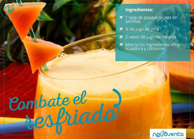 Un batido de papaya, piña y naranja es ideal para tratar los síntomas del resfriado, la tos, la bronquitis o la garganta irritada. Consume 1 vaso diariamente.