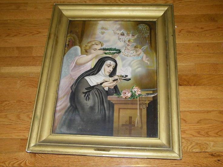 antique painting on tin st rita catholic john duffy new york religious religion