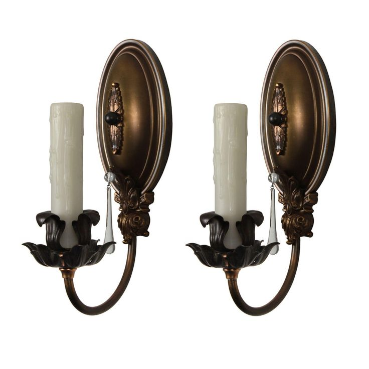 elegant pair of antique brass singlearm sconces with prisms c from