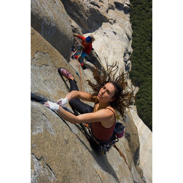 Steph Davis as she became the first woman to free climb El Capitan's Salathe Wall in Yosemite
