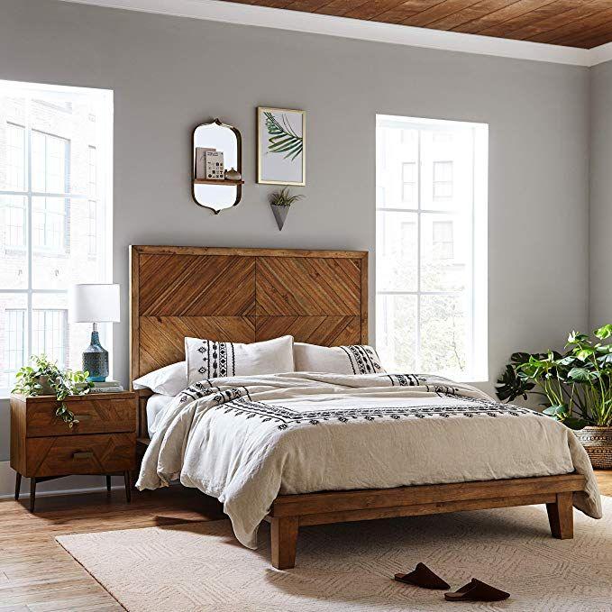 Amazon Com Rivet Brecken Modern Wood Nightstand 24 Brown
