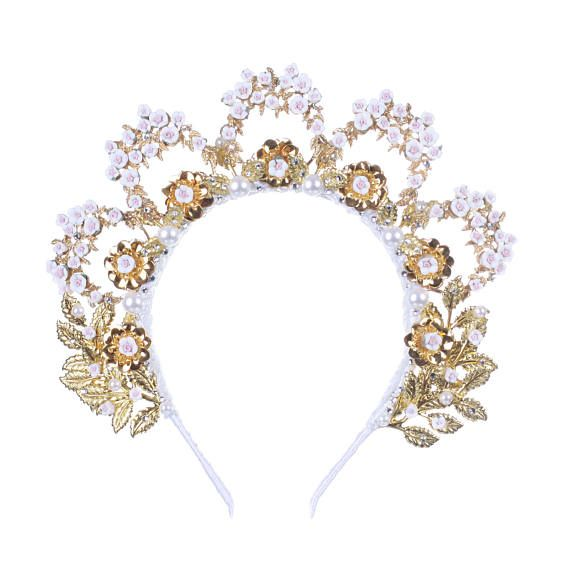 White Tiara, Set, Earrinfs, Crystals tiara, Gold crown, Wedding crystal crown, Rhinestone bridal tiara White tiaras and crowns Crystal Fantastic hair accessories for weddings, prom, parties or other special occasions.  - Handmade - Size: 6 cm (2.3) high. - Tiara (open front the back) flexible. - Earrings pierced - **100% FULL MONEY BACK GUARANTEE** Unlike others sellers, WE STAND behind our brand ILoveCrowns and provide 100% FULL MONEY BACK guarantee, if, For Whatever Reason, You dont…