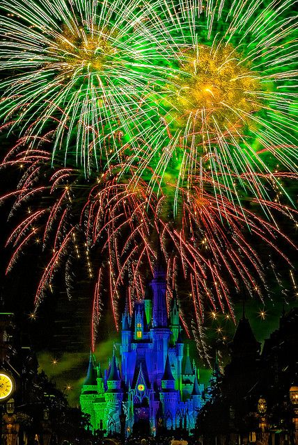 """""""Wishes"""" -- Magic Kingdom, Disney World -- I love the colors of the fireworks in the sky over the castle!"""