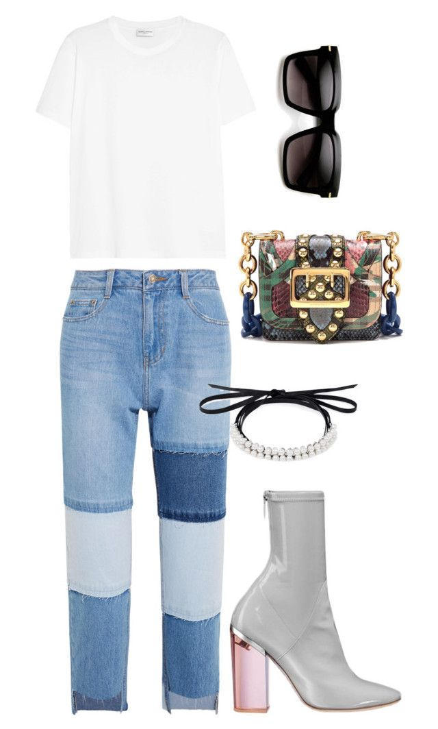"""""""White T Coolness"""" by trend-anonymous on Polyvore featuring Steve J & Yoni P, Christian Dior, Yves Saint Laurent, Burberry and Fallon"""