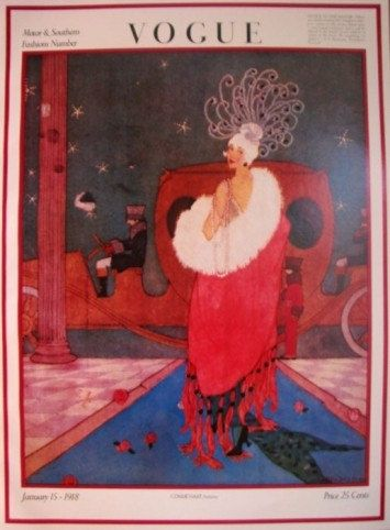 Vintage Vogue cover 'Motor and Southern Fashions' by artist(?), January 15, 1918
