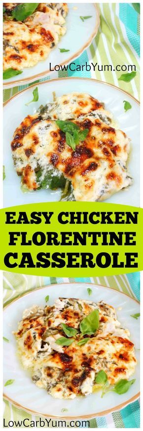 This low carb gluten free chicken florentine casserole is quick and easy to prepare. It's a creamy blend of cut chicken, spinach and Parmesan cheese.   LowCarbYum.com