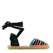 Step out in fun black woven espadrille with multi-coloured stripes with ribbon ankle tie and finished with orange-flecked heel and hot bubblegum insole with fluoro lemon sole.