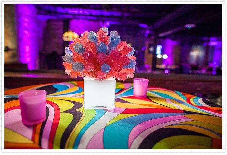 Illuminated rock candy centerpiece bat mitzvah decor by