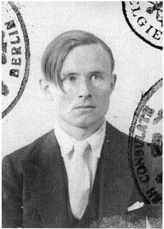 Christopher Isherwood; note the Berlin stamp on his passport