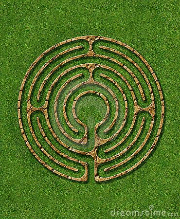 Meditation 6 circuit labyrinth with stone / brick / grass